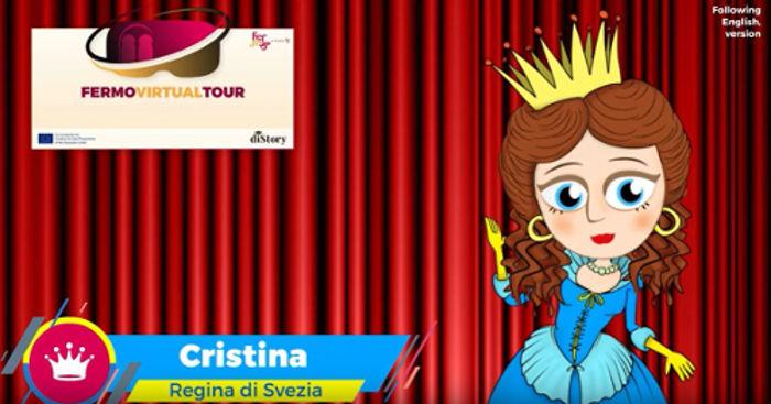 video infografica in cui l'avatar di cristina di svezia presenta il virtual tour del comune di fermo