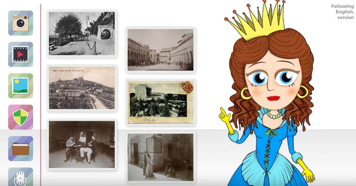 avatar cristina di svezia disegnato da marco marilungo nella video infografica empix multimedia per la presentazione del virtual tour del comune di fermo