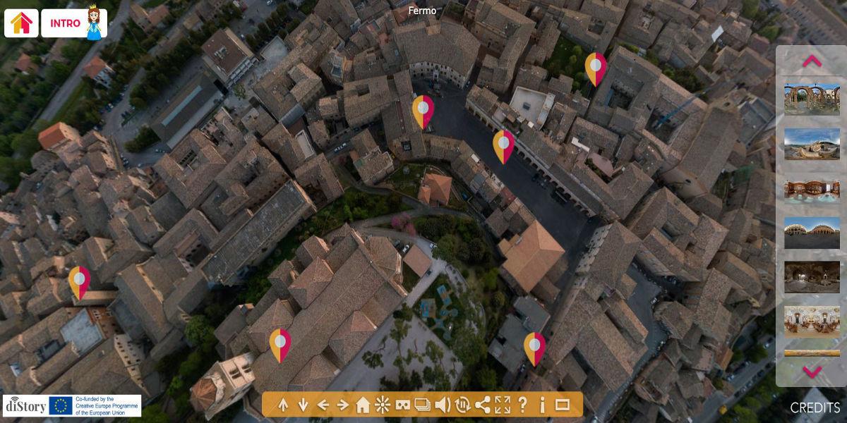 vista dall'alto con drone del centro storico del comune di fermo